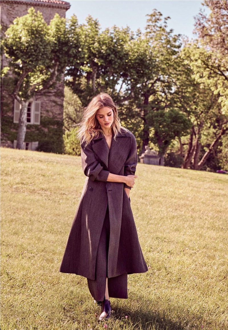 Walking outdoors, Rosie Huntington-Whiteley wears Dior coat and skirt