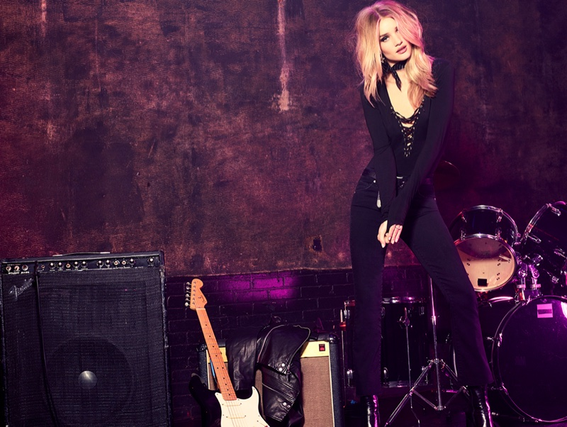 Rosie Huntington-Whiteley serves rock and roll vibes in Paige Denim's fall campaign