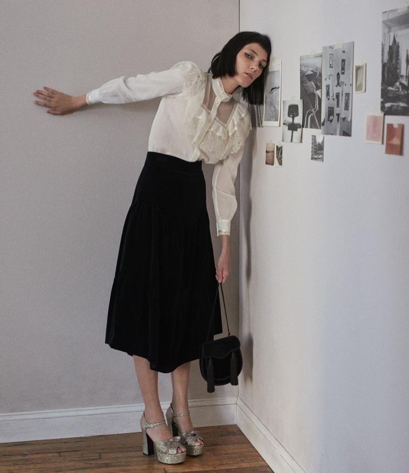 Saint Laurent Lace-Trimmed Ruffle Blouse, Tiered Velvet Midi-Skirt, Candy Platform Sandals and Opium Shoulder Bag
