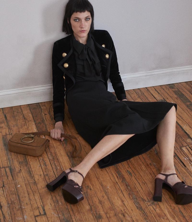 Saint Laurent Velvet Double-Breasted Jacket, Scarf-Neck Blouse and Milano Midi-Skirt, Eddie Shoulder Bag and Candy Platform Sandals