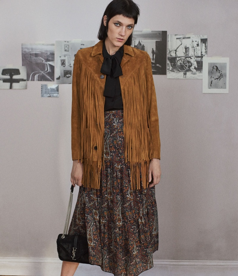 Saint Laurent Texan Fringed-Jacket, Scarf-Neck Blouse, Folkloric-Print Midi-Skirt and Monogram College Medium Shoulder Bag