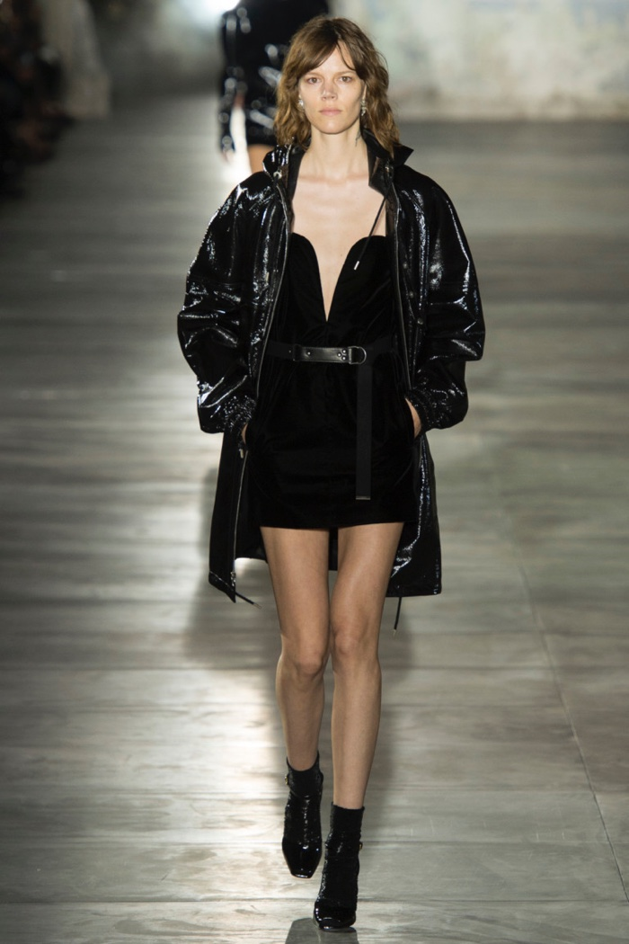 a23f2483eb3 Saint Laurent Spring 2017: Freja Beha Erichsen walks the runway in  lacquered leather coat over