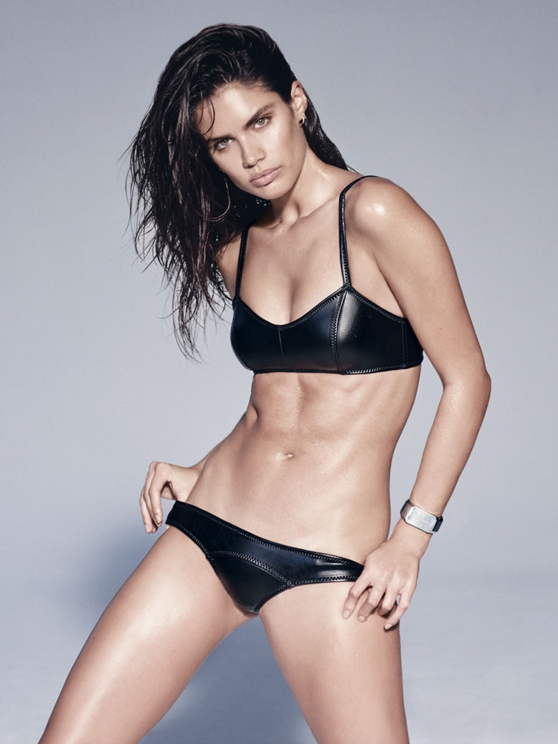 Sara Sampaio wears black bikini set