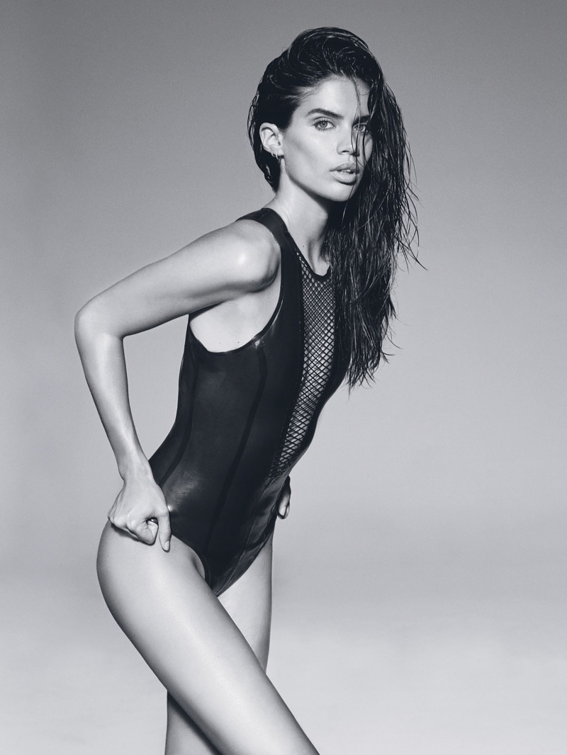 Photographed in black and white, Sara Sampaio wears form-fitting bodysuit