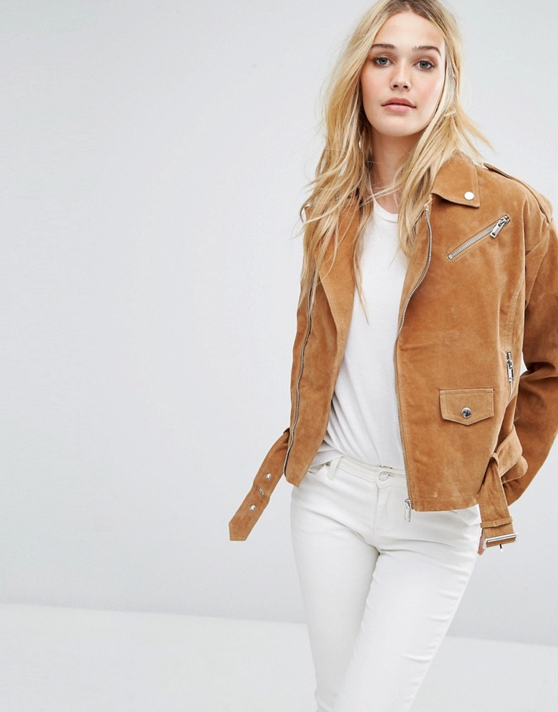 Noisy May Suede Biker Jacket in Brown