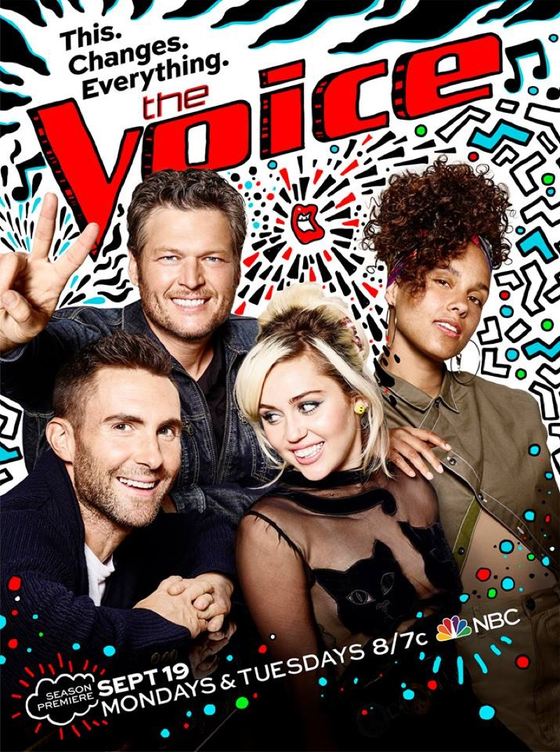 The Voice Season 11 poster  with Blake Shelton, Adam Levine, Miley Cyrus and Alicia Keys