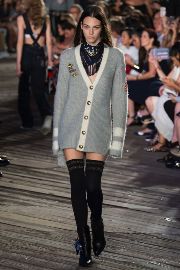 Tommy Hilfiger Fall 2016: Vittoria Ceretti walks the runway in grey cardigan with thigh-high stockings and ankle boots