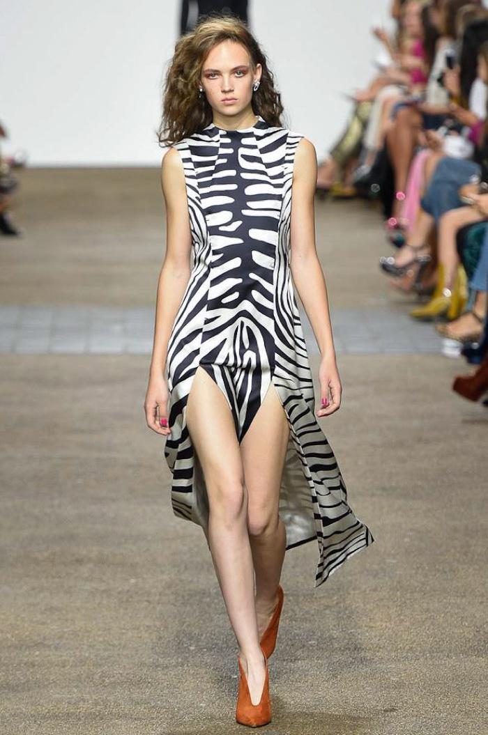 Topshop Unique Spring 2017: Adrienne Jüliger walks the runway in zebra print dress with side slits