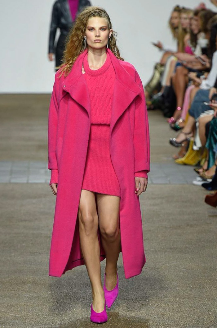 Topshop Unique Spring 2017: Adela Stenberg walks the runway in hot pink coat, sweater and knit miniskirt