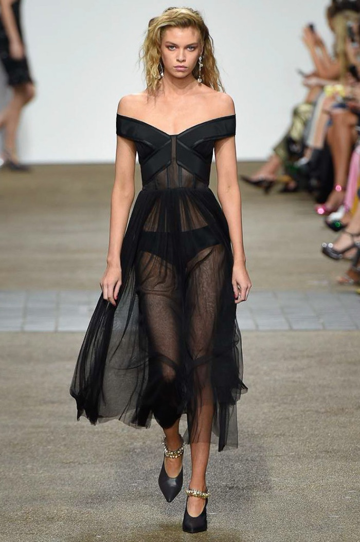 Topshop Unique Spring 2017: Stella Maxwell walks the runway in off-the-shoulder dress with sheer fabric