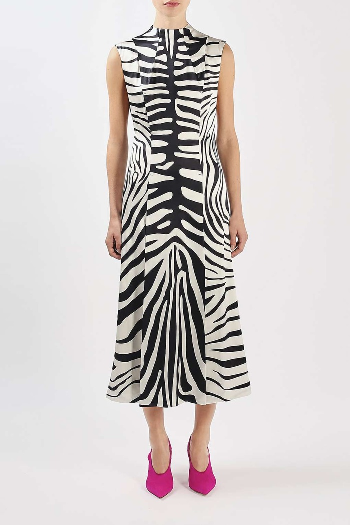 Topshop Unique Zebra Print Irving Midi Dress