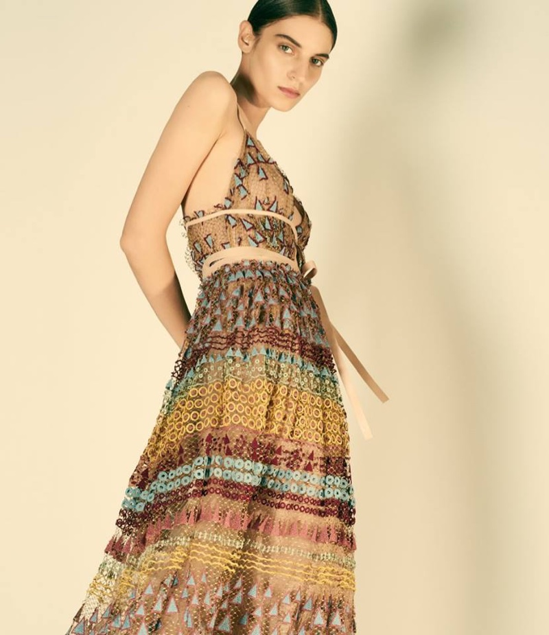 Valentino Embroidered Tulle Maxi Dress
