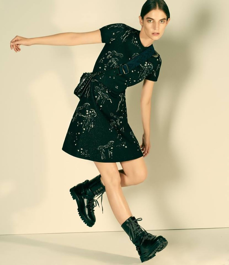 Valentino Cloud-Motif Minidress, Rockstud Rolling Small Shoulder Bag and Leather Combat Boots