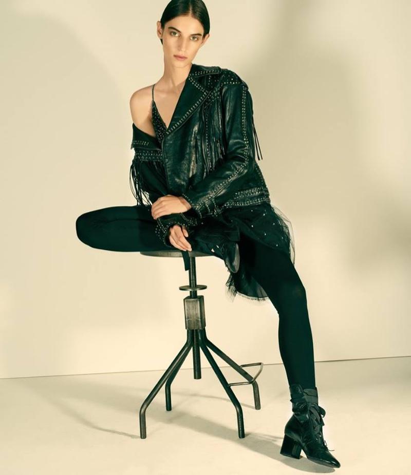 Valentino Embellished Leather Moto Jacket, Embellished Tulle Minidress, Fine-Gauge Knit Legging and Leather Ballerina Ankle Boots