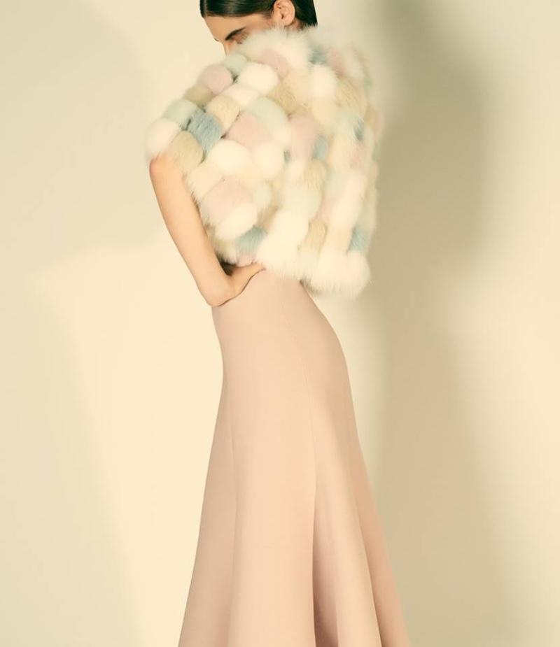 Valentino Fox Fur Bolero and Wool-Silk Dress