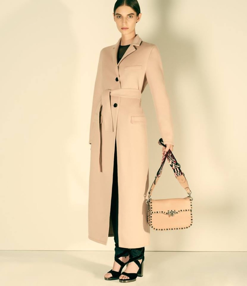 Valentino Wool-Cashmere Belted Coat, Silk Chiffon Ruffled Blouse, Luxe Twill Tuxedo Trousers, Ballet Fever Ankle-Tie Sandals and Rockstud Rolling Shoulder Bag