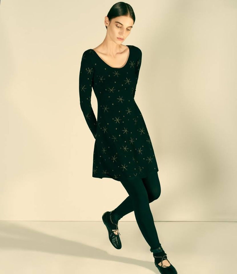 Valentino Star-Embroidered Swing Minidress, Fine-Gauge Knit Leggings and Ankle Wrap Leather Ballerina Flats