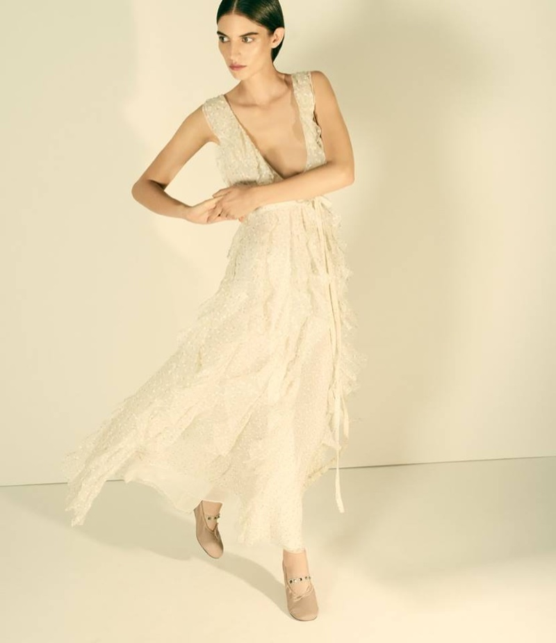 Valentino Glittery Butterfly Chiffon Gown and Rockstud Leather Ballerina Flats
