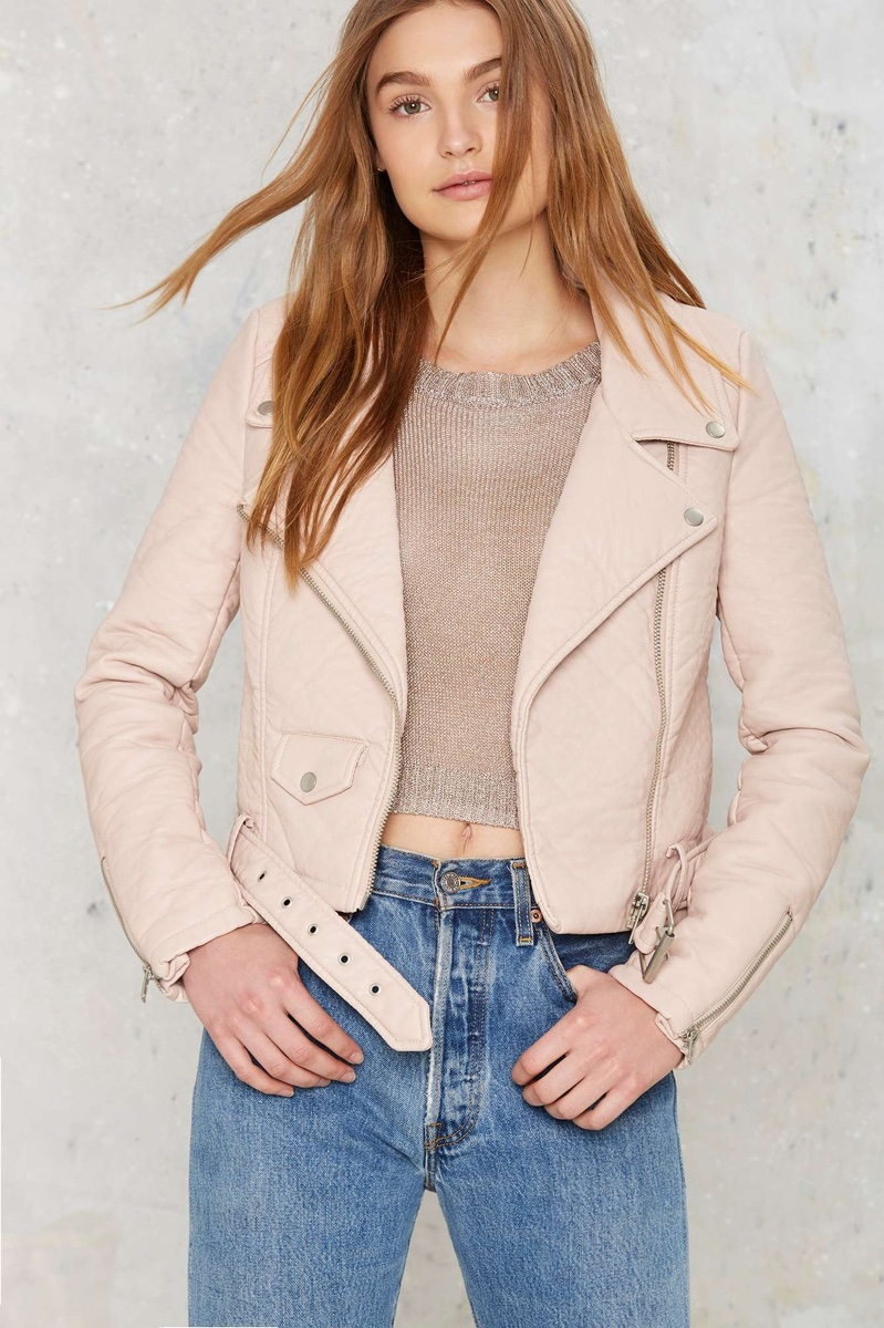 Nasty Gal Vegan Leather Jacket in Blush