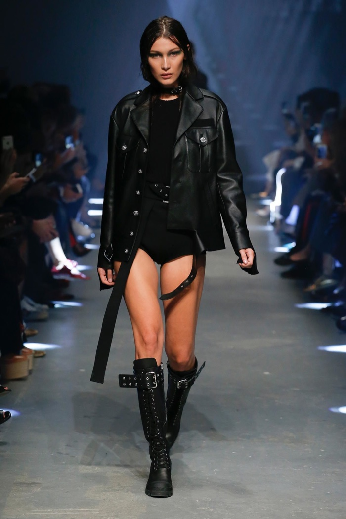 Versus Versace Spring 2017: Bella Hadid walks the runway in leather jacket, ribbed knit top and briefs