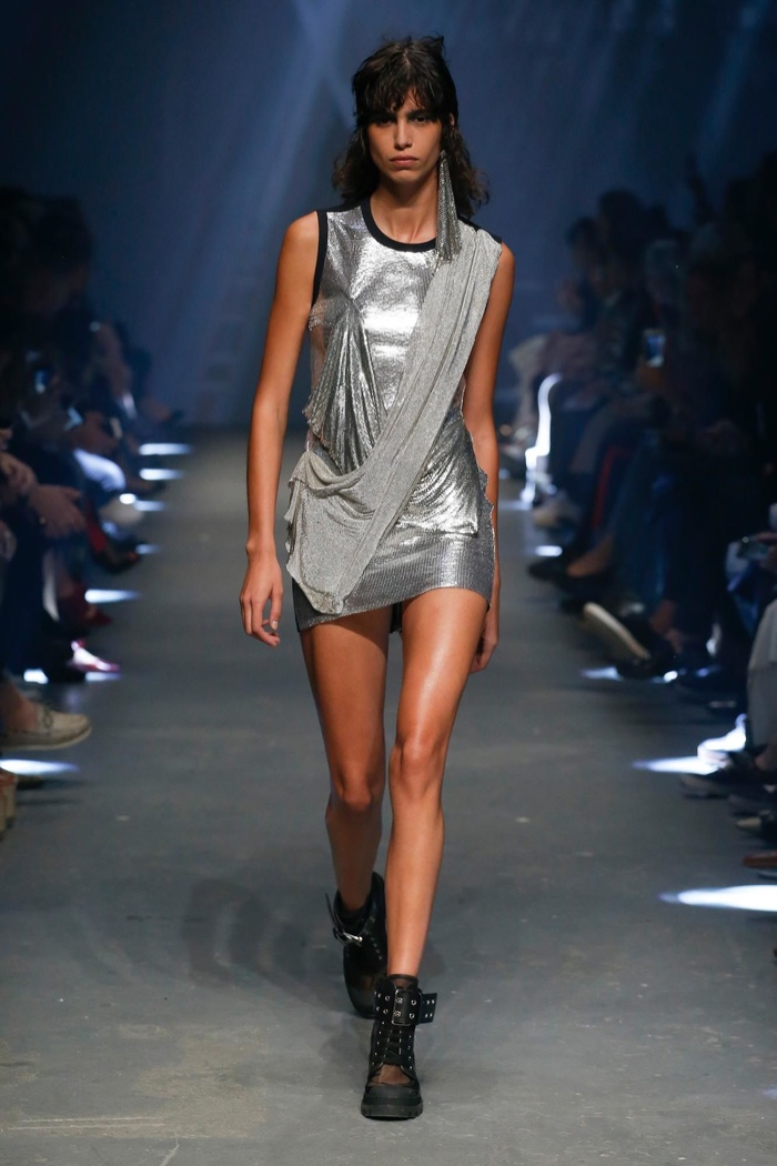 Versus Versace Spring 2017: Mica Arganaraz walks the runway in silver minidress with draping