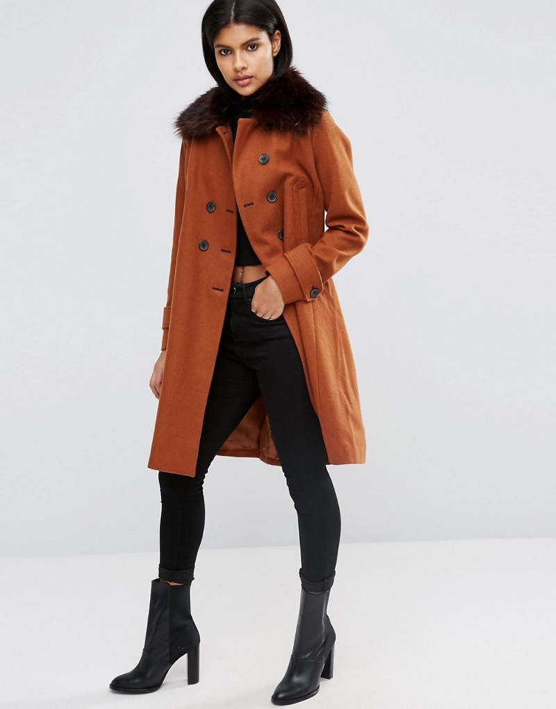 ASOS Wool Blend Coat with Military Details