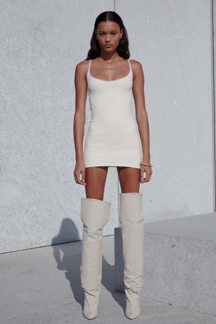 Yeezy Season 4: cream minidress with thigh-high boots