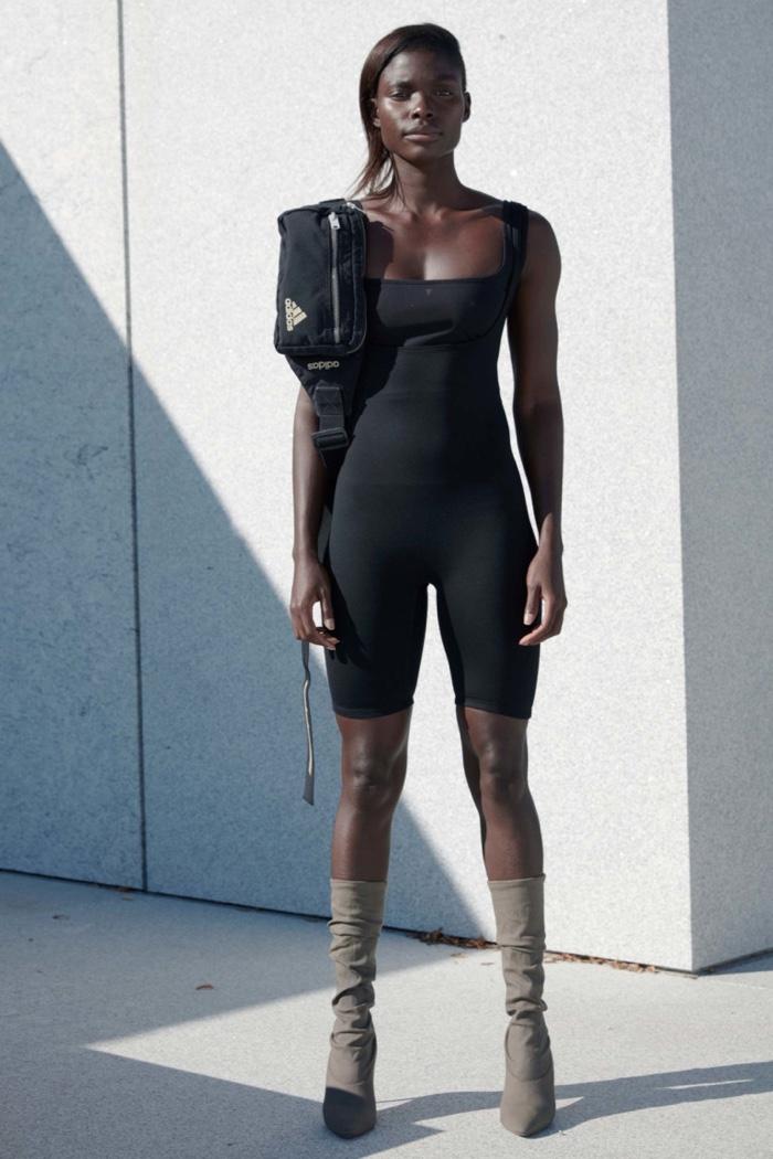 Yeezy Season 4: Sleeveless black bodysuit