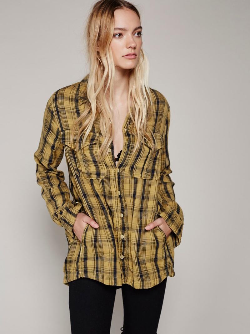 CP Shades x Free People Yellow Buttondown Shirt