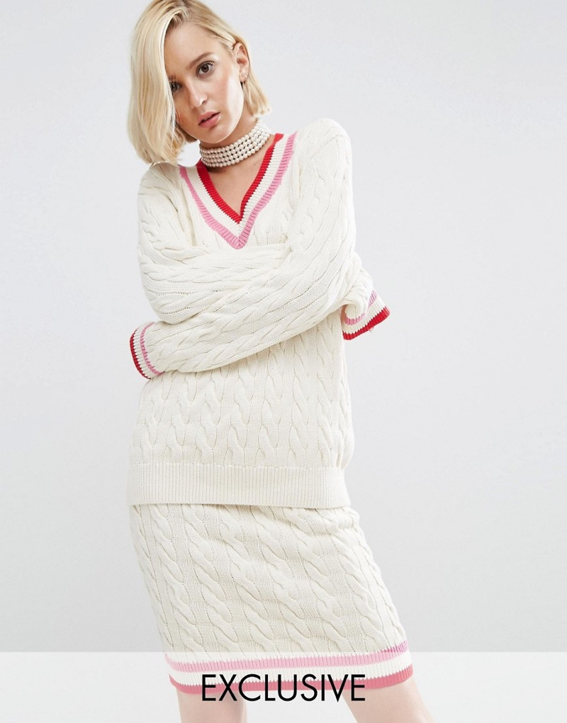 ASOS x WAH London Cable Knit Jumper and Skirt