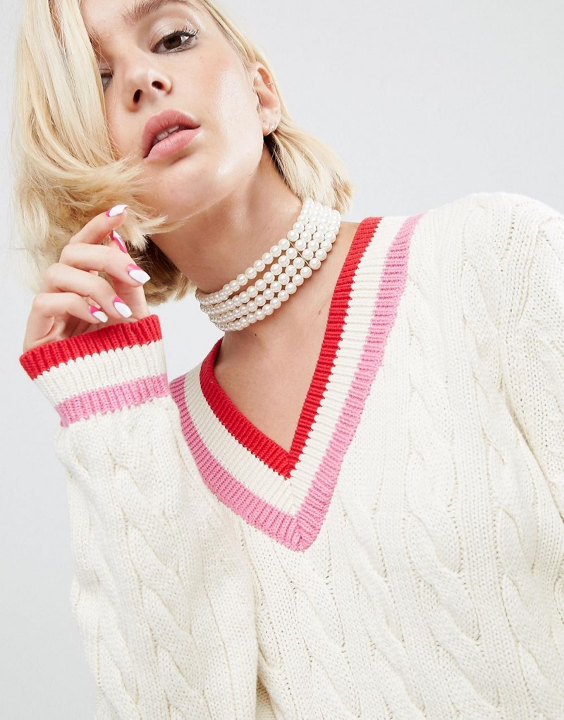 ASOS x WAH London Multi Row Pearl Choker Necklace