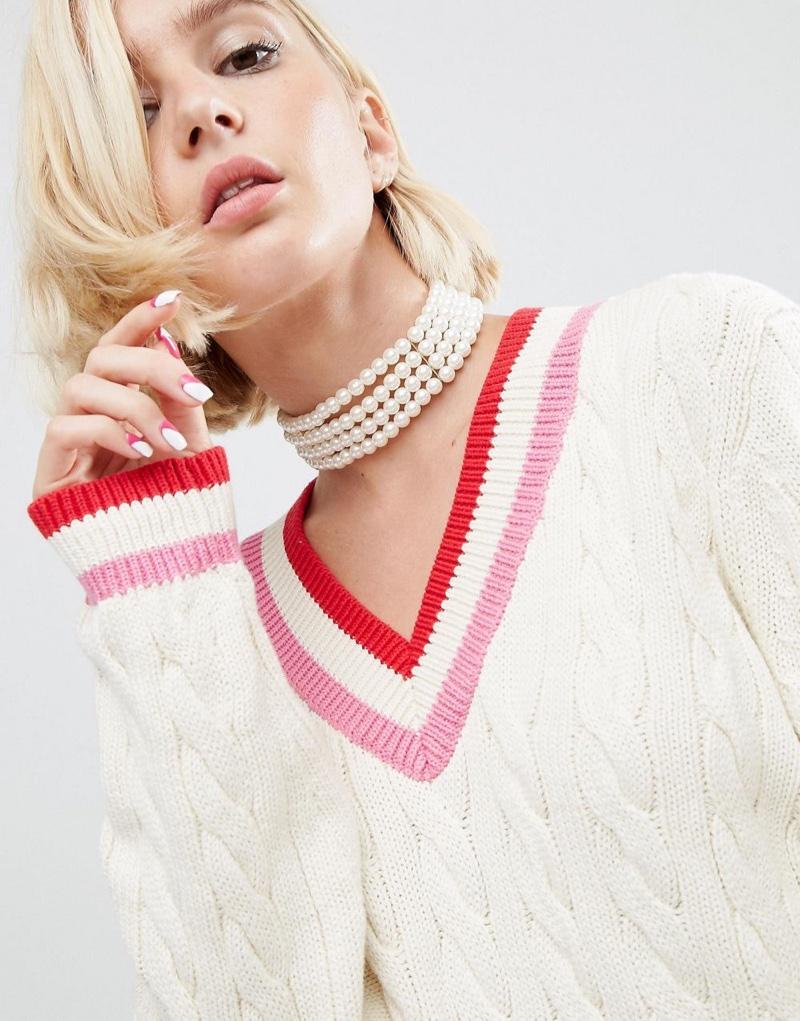 ASOS x WAH London Multi Row Pearl Choker Necklace