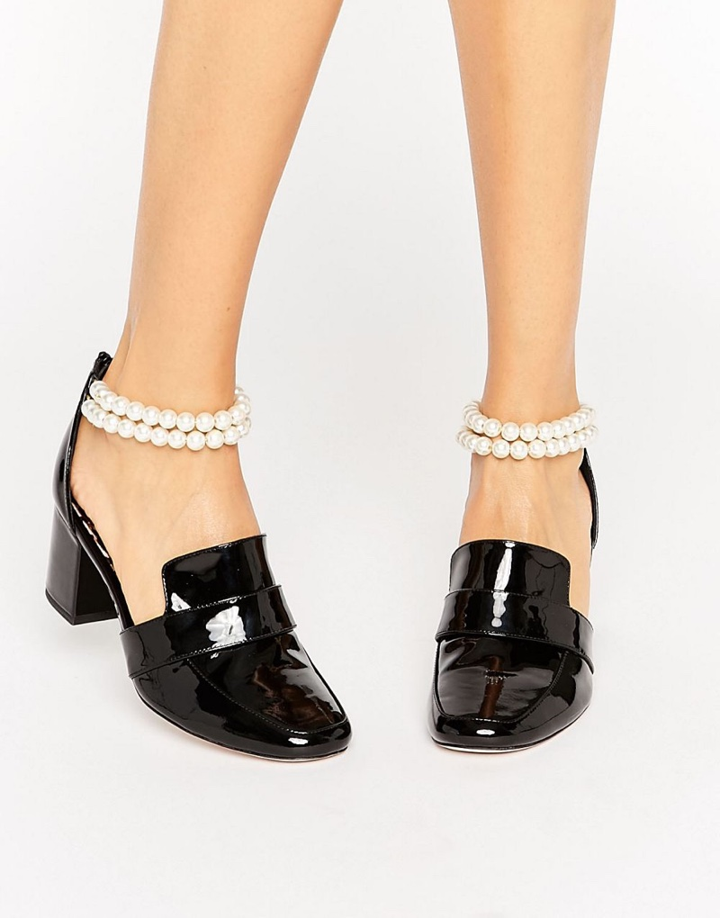 ASOS x WAH London Patent Leather Pearl Strap Heeled Loafers