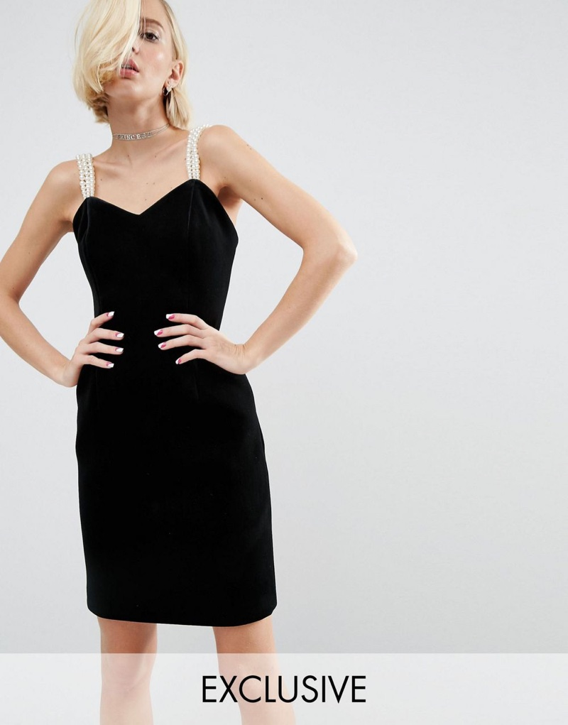 ASOS x WAH London Velvet Dress with Pearl Straps