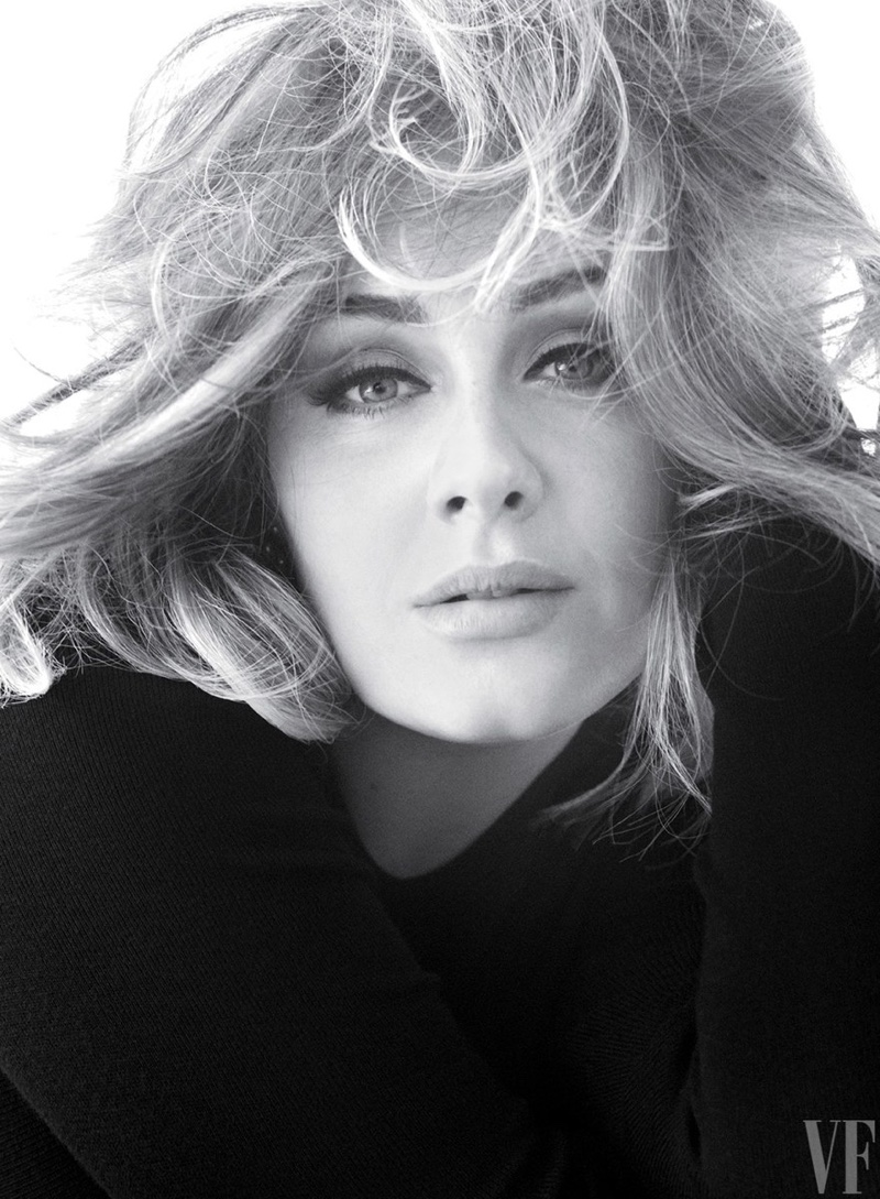 Getting her closeup, Adele wears her hair in gorgeous waves
