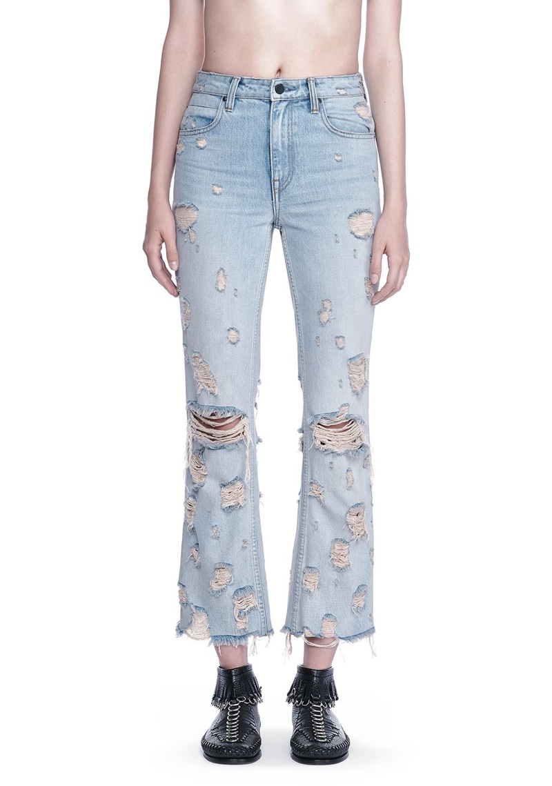 Alexander Wang Grind Scratch Cropped Flare Jean