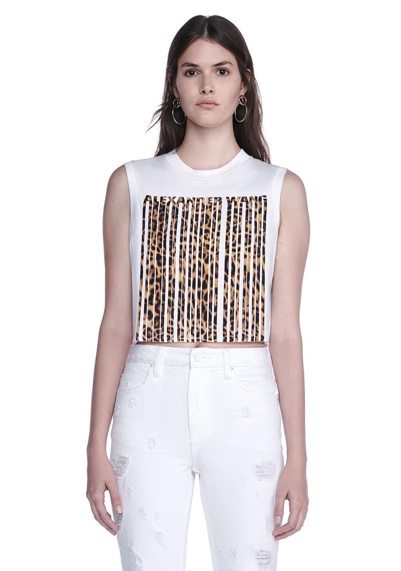 Alexander Wang Leopard Print Bonded Barcode Crop Top
