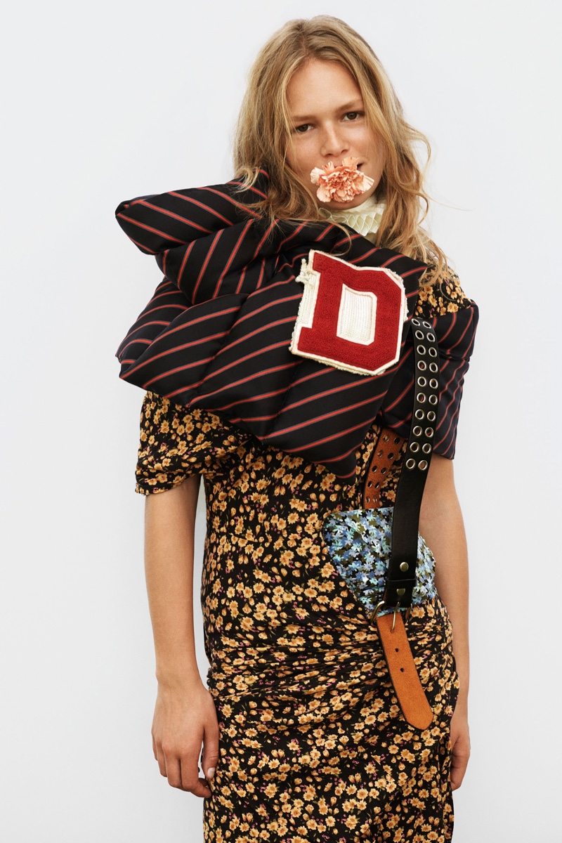 Model Anna Ewers layers up in colorful prints