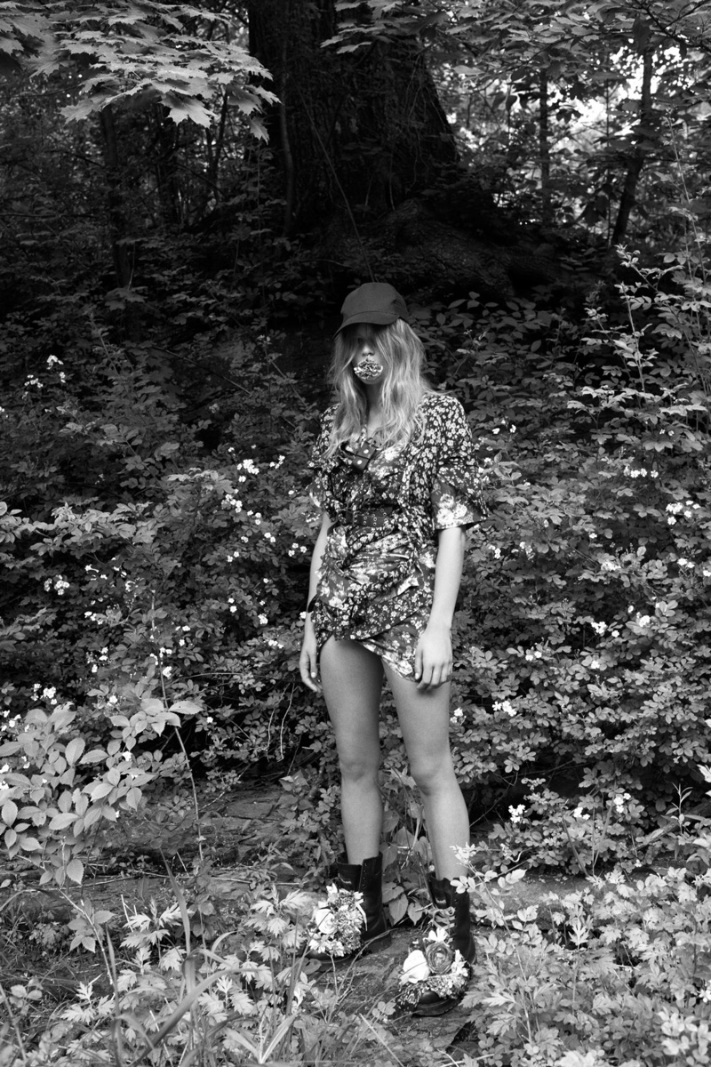 Anna Ewers poses in Woodstock, New York for the outdoor shoot