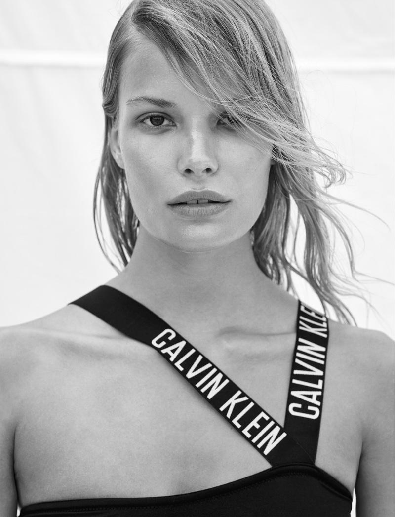 Alena Blohmwears Calvin Klein swimsuit