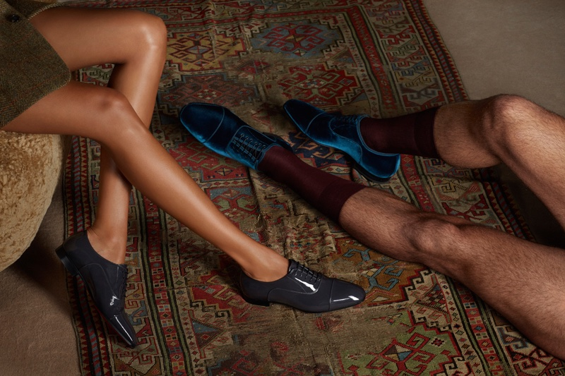 Closeup of Christian Louboutin's oxford styles for women and men