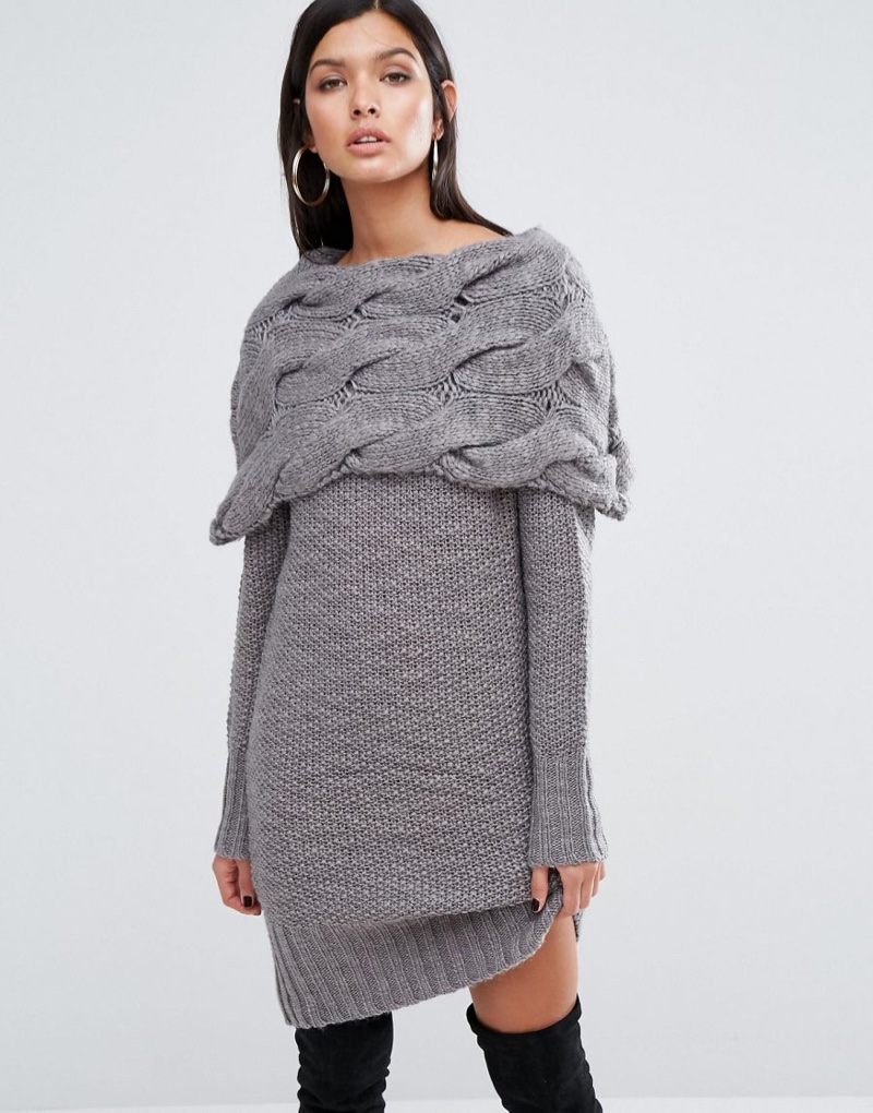 River Island Studio Chunky Cable Knit Sweater Dress