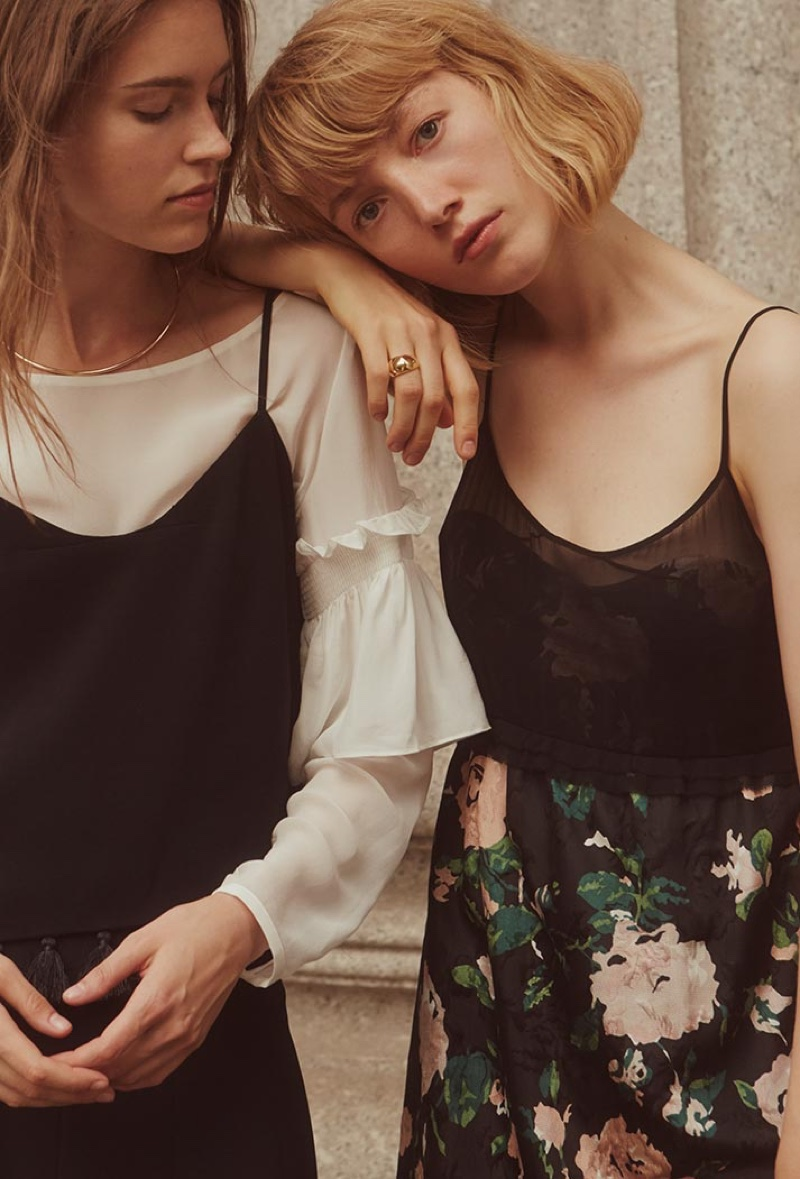 Eliza wears Club Monaco Edvard Tank, Aczib Silk Top and Maarku Skirt, Lou wears Jorrdynne Dress and Fireball Ring