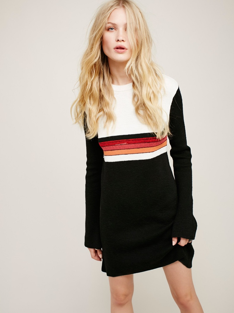 Free People Colorblock Swit Mini Sweater Dress