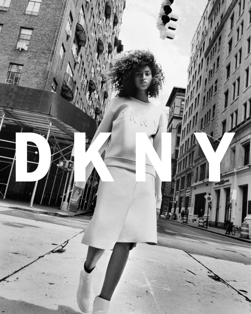 Imaan Hammam hits the streets of the Big Apple in DKNY sweatshirt and skirt