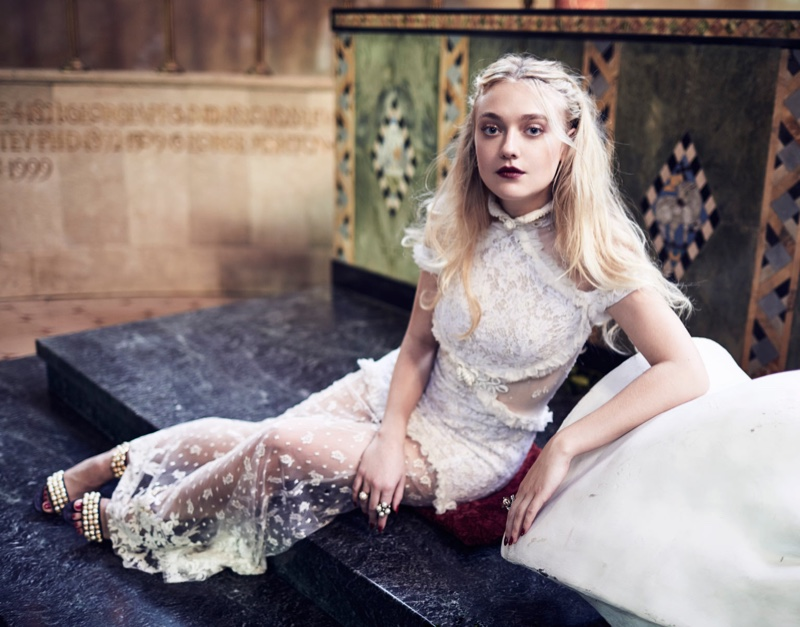 Actress Dakota Fanning wears Alessandra Rich gown with Christian Louboutin embellished sandals
