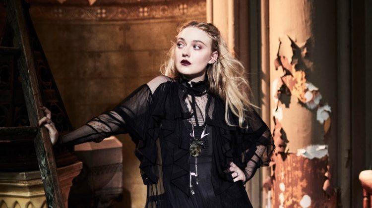 Dakota Fanning Poses in Modern Gothic Looks for The Edit