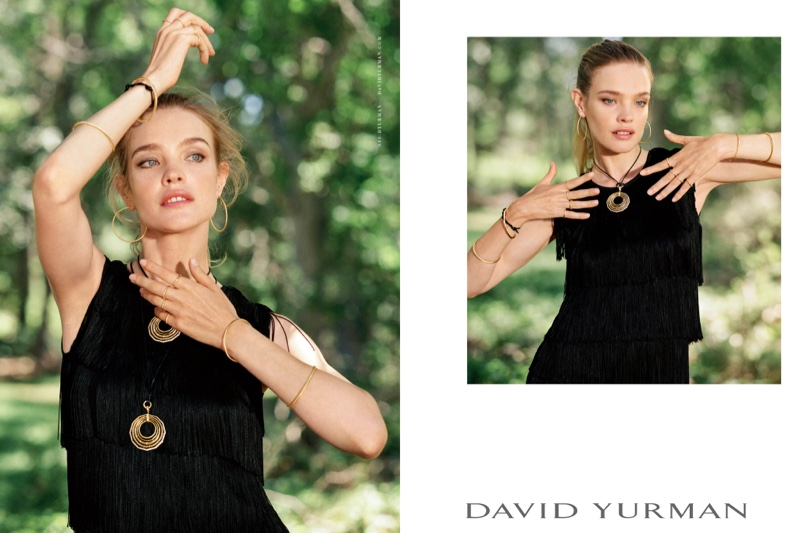 Photographed by Bruce Weber, Natalia Vodianova poses in gold jewelry for David Yurman campaign