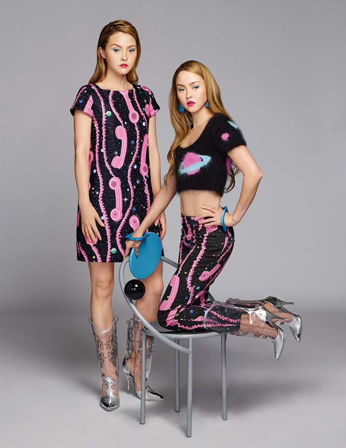 Devon Aoki poses in Jeremy Scott's fall collection