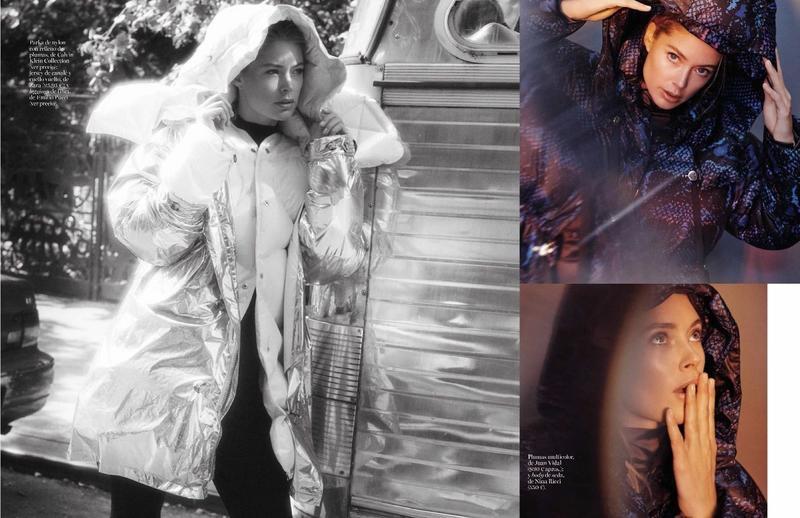 Hitting the streets, Doutzen Kroes wears Calvin Klein Collection reflective parka